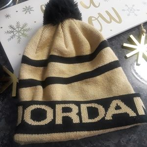 Black and gold Jordan beanie